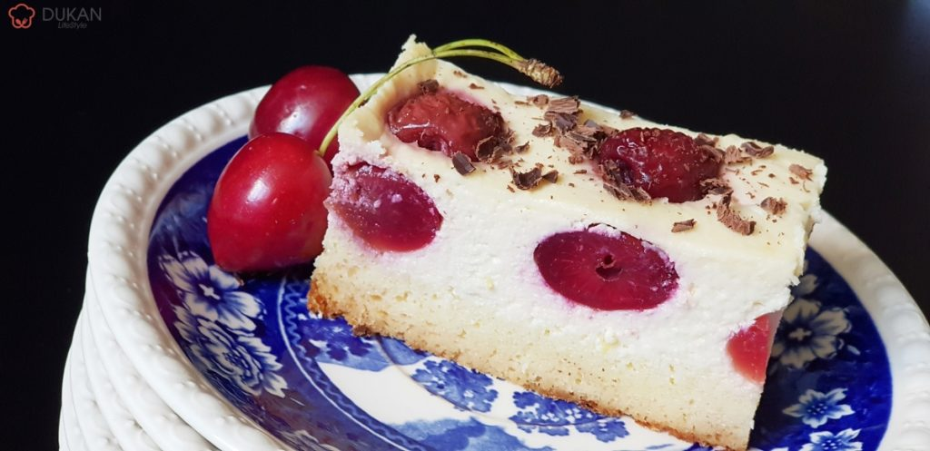 CHEESECAKE cu CIRESE (Fara faina alba/ Sugar free/ Low carb/ Low fat/ Gluten free)