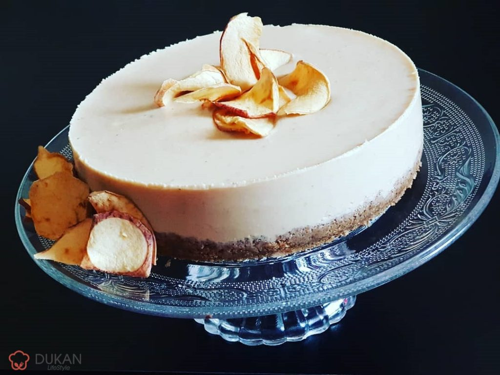 CHEESECAKE cu MERE fara coacere (Fara faina alba/ Sugar free/ Low carb/ Low fat)
