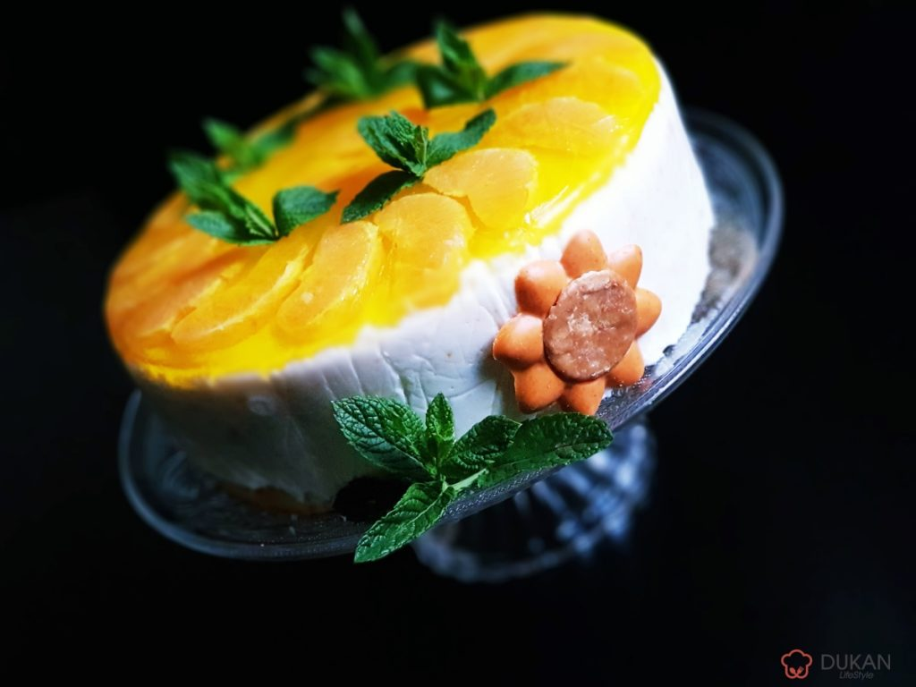 FRESH orange CHEESECAKE (Fara faina alba/ Sugar free/ Low carb/ Low fat/ Gluten free)
