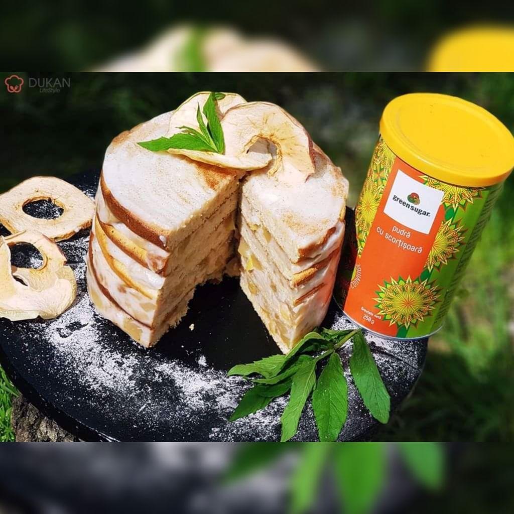 TORT cu MERE si SCORTISOARA (Fara faina alba/ Sugar free/ Low carb/ Low fat/ Gluten free)